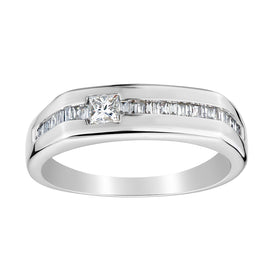 .40 CARAT DIAMOND PRINCESS CUT RING + CHANNEL SET BAND, 14kt WHITE GOLD......................NOW