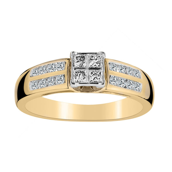 .42 CARAT DIAMOND PRINCESS DESIGN WITH DOUBLE CHANNEL RING, 10kt….............................NOW