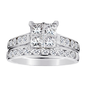 1.50 CARAT DIAMOND PRINCESS RING SET, 14kt WHITE GOLD.....................NOW