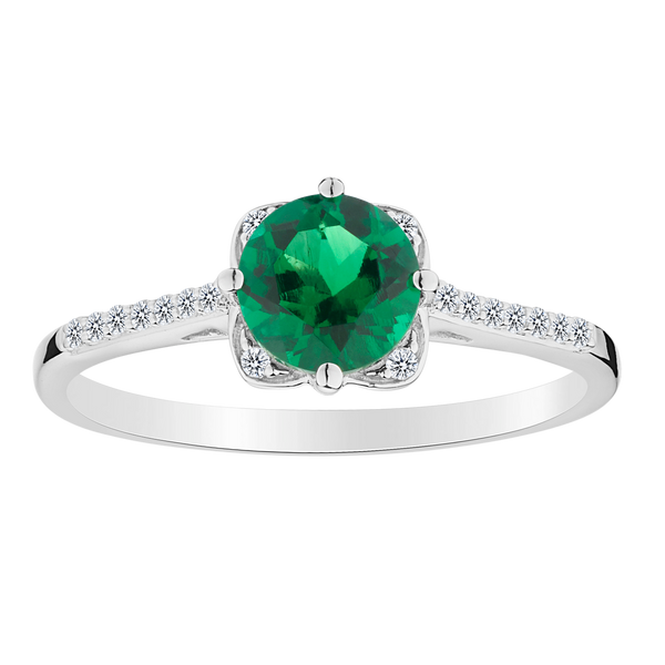 CREATED EMERALD AND WHITE SAPPHIRE RING, SILVER........................NOW
