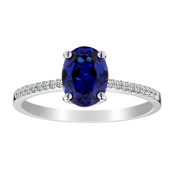CREATED SAPPHIRE AND WHITE SAPPHIRE RING, SILVER..................NOW