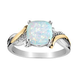 CREATAED OPAL RING, 10kt YELLOW GOLD AND SILVER (TWO TONE).....................NOW