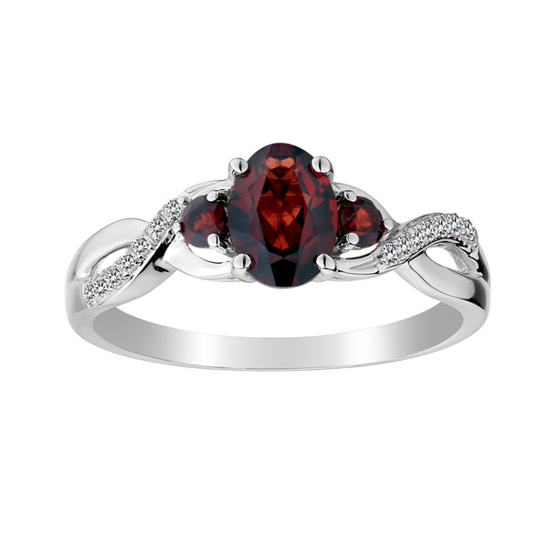 GARNET AND CREATED WHITE SAPPHIRE RING, SILVER..............NOW
