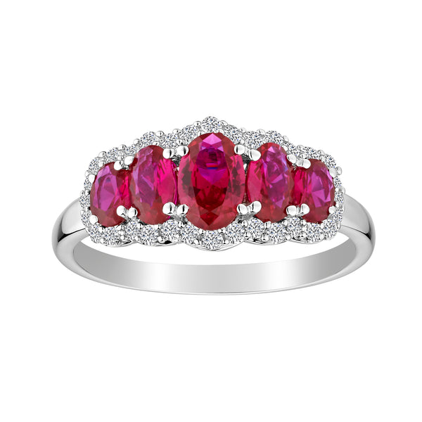 CREATED RUBY AND CREATED WHITE SAPPHIRE RING, SILVER..................NOW