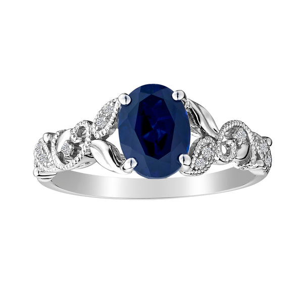 CREATED BLUE AND WHITE SAPPHIRE RING, SILVER..........................NOW