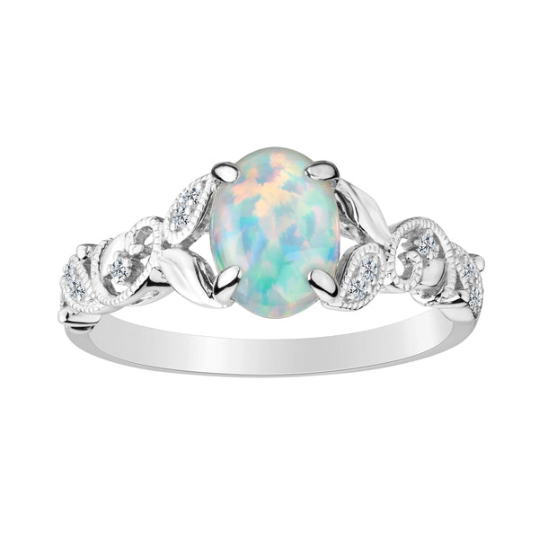 CREATED OPAL AND WHITE SAPPHIRE RING, SILVER.................NOW