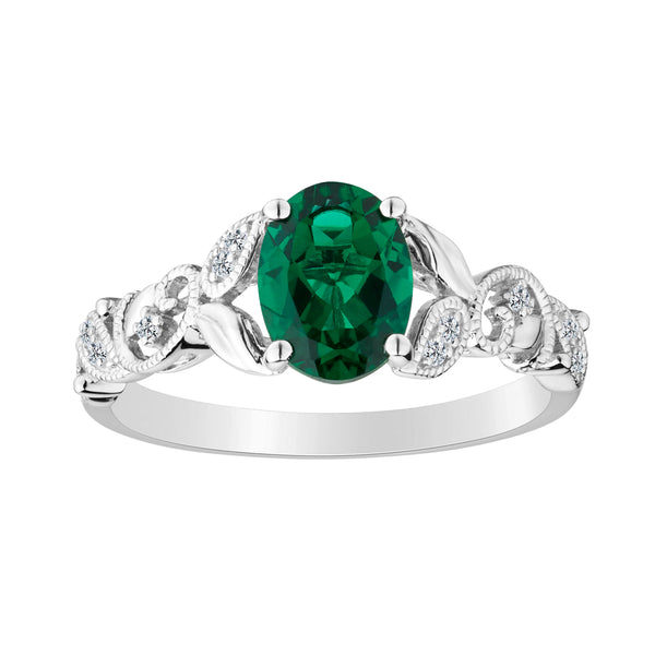 CREATED EMERALD AND CREATED WHITE SAPPHIRE RING, SILVER.....................NOW