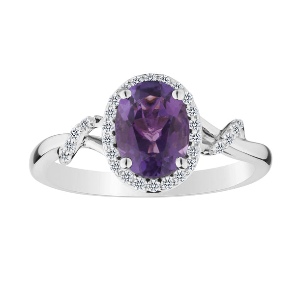 AMETHYST AND CREATED WHITE SAPPHIRE RING, SILVER...................NOW