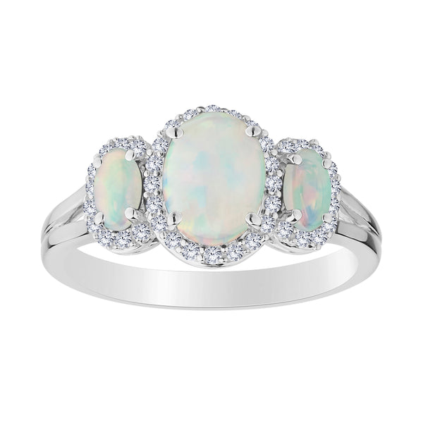 CREATED OPAL AND CREATED WHITE SAPPHIRE RING, SILVER....................NOW