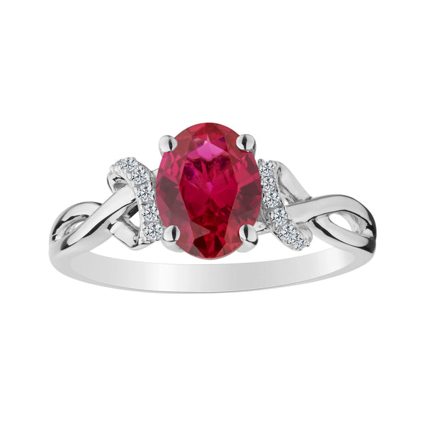 CREATED RUBY AND CREATED WHITE SAPPHIRE RING, SILVER............................NOW