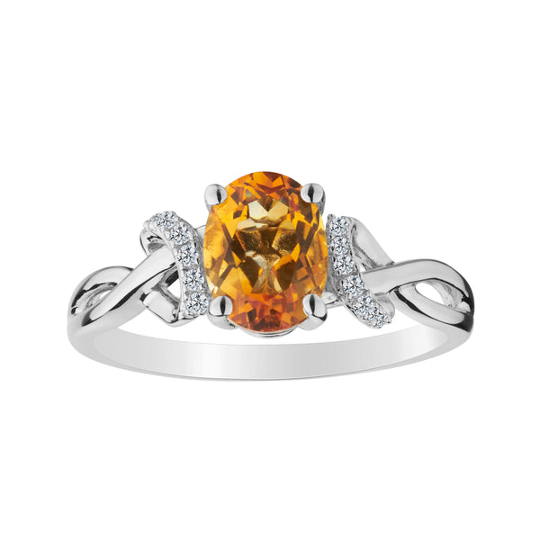 CITRINE AND CREATED WHITE SAPPHIRE RING, SILVER........................NOW