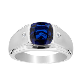 .015 CARAT DIAMOND AND CREATED SAPPHIRE RING, SILVER....................NOW
