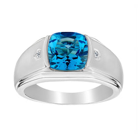 .015 CARAT DIAMOND AND GENUINE BLUE TOPAZ RING, SILVER.....................NOW