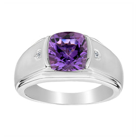.015 CARAT DIAMOND AND GENUINE AMETHYST RING, SILVER....................NOW