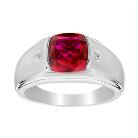 .015 CARAT DIAMOND AND CREATED RUBY RING, SILVER...................NOW