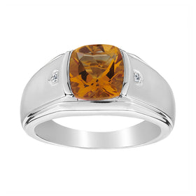 .015 CARAT DIAMOND AND GENUINE CITRINE RING, SILVER...................NOW