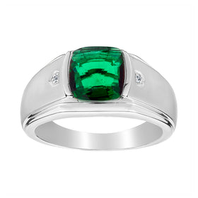 .015 CARAT DIAMOND AND CREATED EMERALD RING, SILVER...................NOW