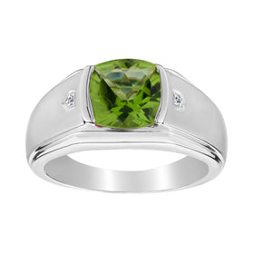 .015 CARAT DIAMOND AND GENUINE PERIDOT GENTLEMAN'S RING, SILVER...................NOW