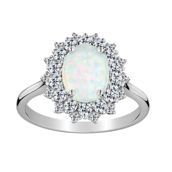 CREATED OPAL AND WHITE TOPAZ RING, SILVER….............................NOW