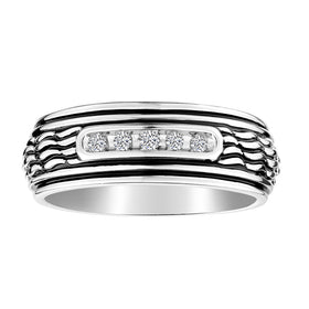 S.SILVER .10TDW GENTLEMAN'S DIAMOND RING.....................NOW