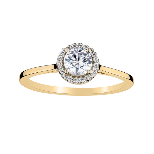 CREATED WHITE SAPPHIRE AND .06 CARAT DIAMOND HALO RING, 10kt YELLOW GOLD.....................NOW
