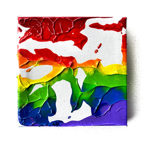 "Rainbow Art - Original Painting - Bump (4""X4"")"