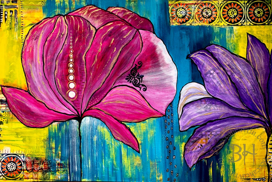 Original Painting - Rain on the Peonies (24
