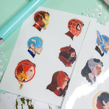 Load image into Gallery viewer, Clear Superhero Sticker Sheets