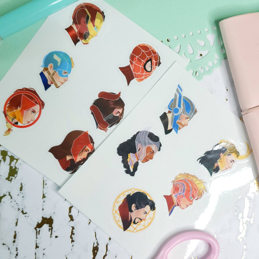 Clear Superhero Sticker Sheets
