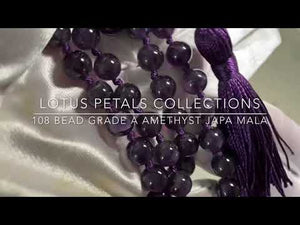 108-Beaded Natural Grade A Amethyst Knotted Mala with Tassel