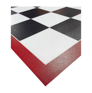 G-Floor Imaged Parking Pad 75 Mil Ceramic 5' x 10' Black and White Checkerboard with Red Border
