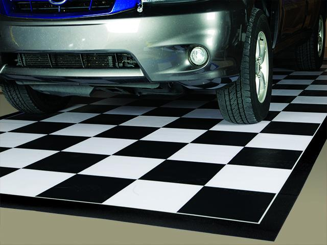 G-Floor Imaged Parking Pad 75 Mil Ceramic 10' x 20' Black and White Checkerboard with Black Border