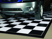 Load image into Gallery viewer, G-Floor Imaged Parking Pad 75 Mil Ceramic 5' x 10' Black and White Checkerboard with Black Border