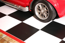 Load image into Gallery viewer, G-Floor Imaged Parking Pad 75 Mil Ceramic 5' x 10' Black and White Checkerboard with Red Border