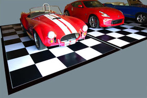 G-Floor Imaged Parking Pad 75 Mil Ceramic 5' x 10' Black and White Checkerboard with Black Border