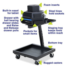 Load image into Gallery viewer, MONTEZUMA 3-Tier Steel Mobile Revolving Tool Cart