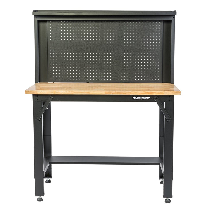 MONTEZUMA 4 Ft. Adjustable Height Steel Workbench With Pegboard Back Wall