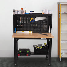 Load image into Gallery viewer, MONTEZUMA 4 Ft. Adjustable Height Steel Workbench With Pegboard Back Wall