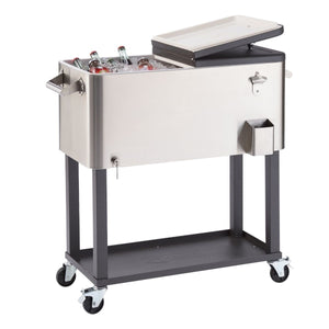 TRINITY 100 Quart Stainless Steel Cooler W/ Shelf