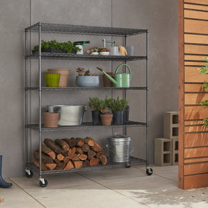 TRINITY 5-Tier 60x24x72 Wire Shelving W/ Wheels Black Anthracite®