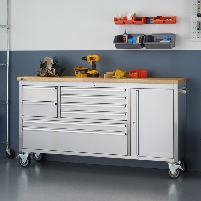TRINITY 66x19 Stainless Steel Rolling Workbench