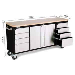 TRINITY 72x19 Black & Stainless Steel Rolling Workbench