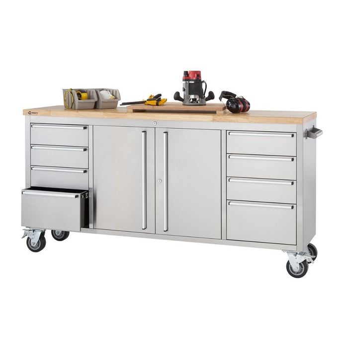 TRINITY 72x19 Stainless Steel Rolling Workbench