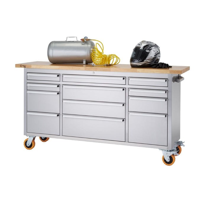 TRINITY PRO 72x19 Stainless Steel Rolling Workbench