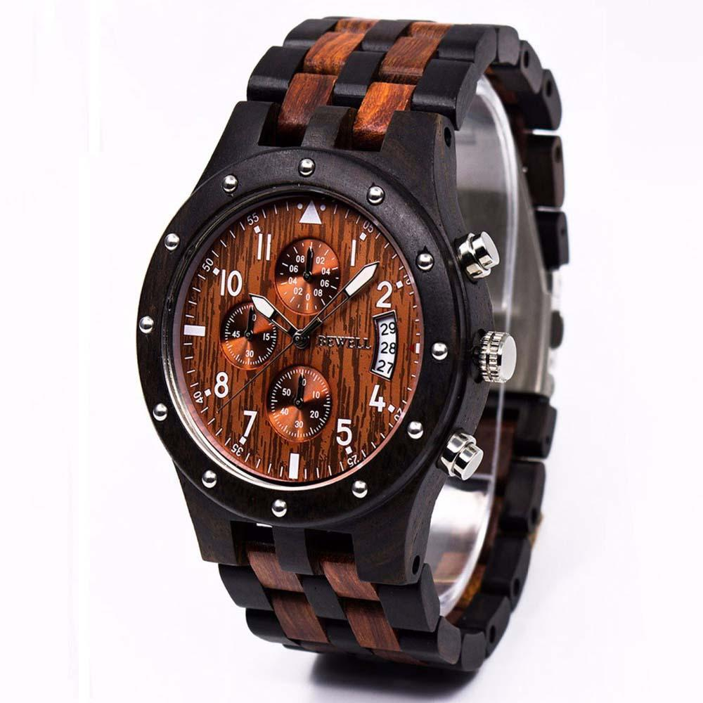 Wooden Men's Watch With Complete Calendar Time - Pieces of Wood.