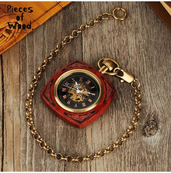 Antique Red Wooden Carving Hand Winding Mechanical Pocket Watch with Gold Chain - Pieces of Wood