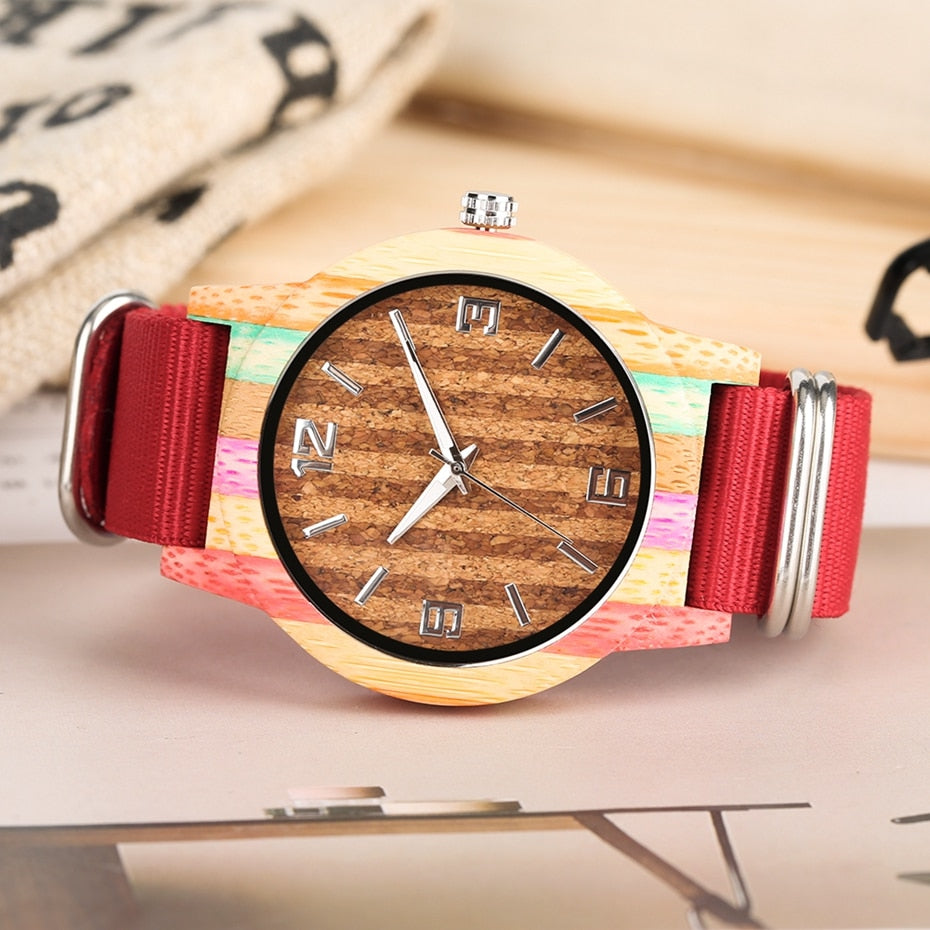 Creative Cork Paint/Striped Colourful Wood Watch for Men or Women