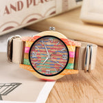 Load image into Gallery viewer, Creative Cork Paint/Striped Colourful Wood Watch for Men or Women