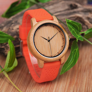 Silicone Band Bamboo Face Wood Watch for Women