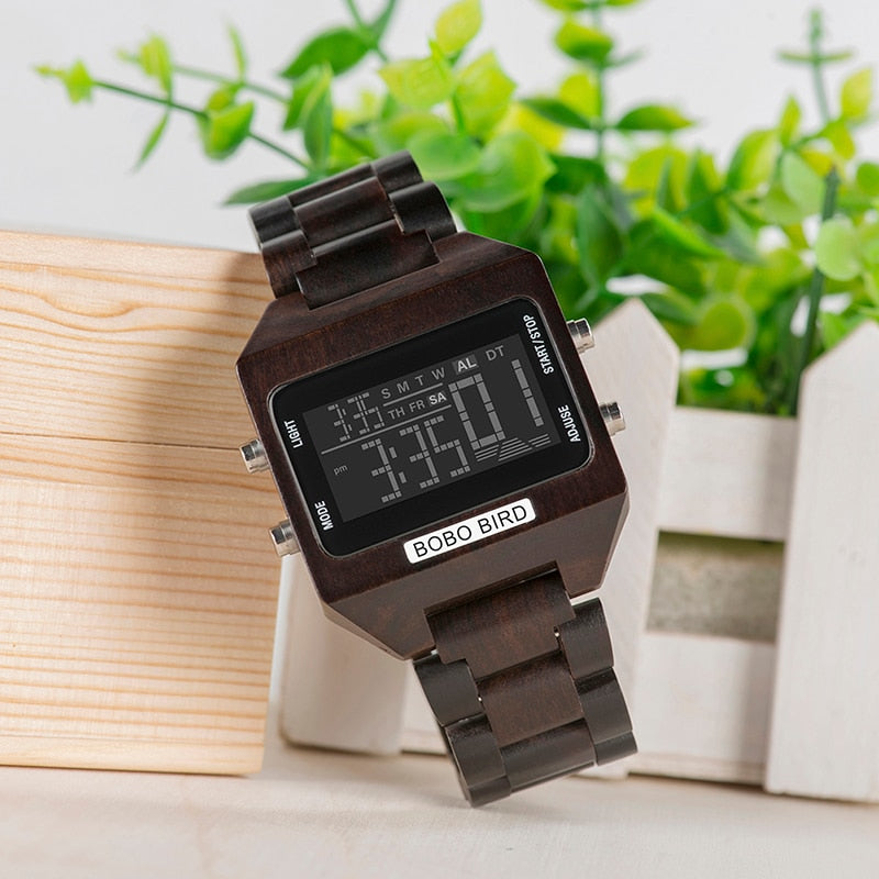 Multi-Function Wooden Digital Watch For Men with Wooden Box